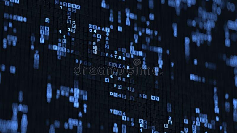 Μπλε δεκαεξαδική μεγάλη τρισδιάστατη δίνοντας απεικόνιση κώδικα στοιχείων ψηφιακή διανυσματική απεικόνιση