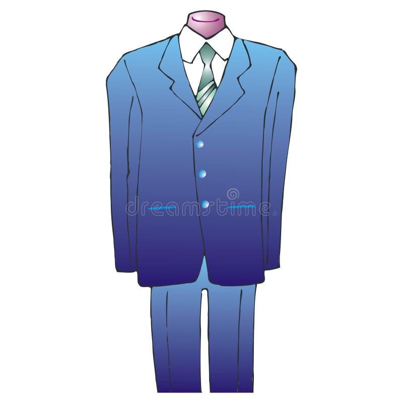 μπλε δεσμός κοστουμιών διανυσματική απεικόνιση