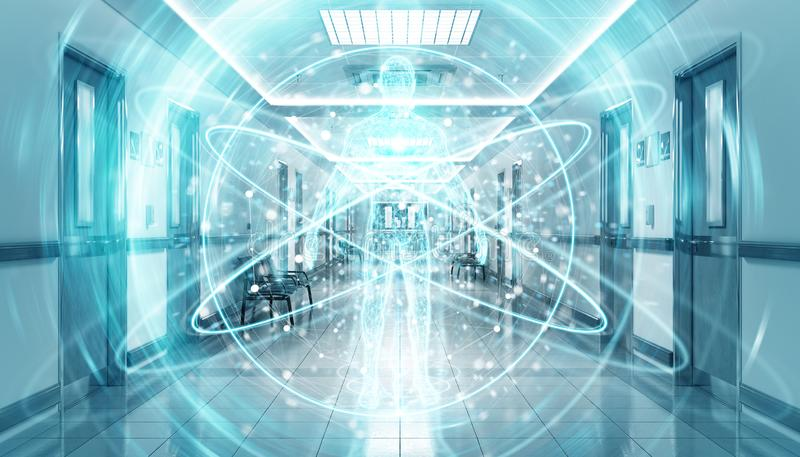 Μπλε διάδρομος νοσοκομείων με των ακτίνων X ψηφιακό να επιπλεύσει σωμάτων στην τρισδιάστατη απόδοση συνδέσεων σημείων διανυσματική απεικόνιση
