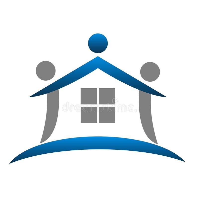 Μπλε διάνυσμα λογότυπων αφηρημένων, ακίνητων περιουσιών σπιτιών πρότυπο απεικόνιση αποθεμάτων