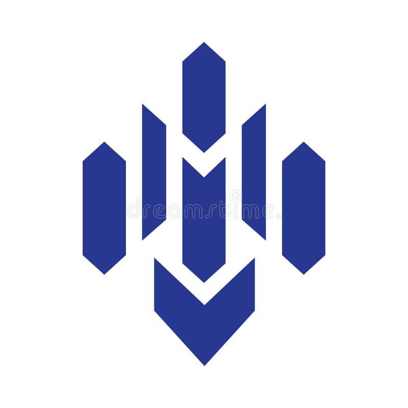 Μπλε διάνυσμα λογότυπων γραμμάτων Μ διανυσματική απεικόνιση