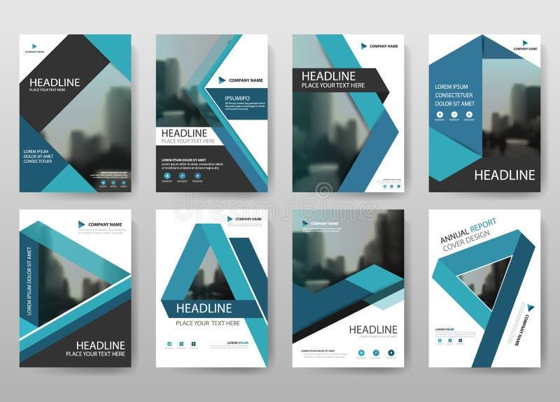 Μπλε διάνυσμα προτύπων σχεδίου ιπτάμενων φυλλάδιων ετήσια εκθέσεων δεσμών, αφηρημένο επίπεδο υπόβαθρο παρουσίασης κάλυψης φυλλάδι
