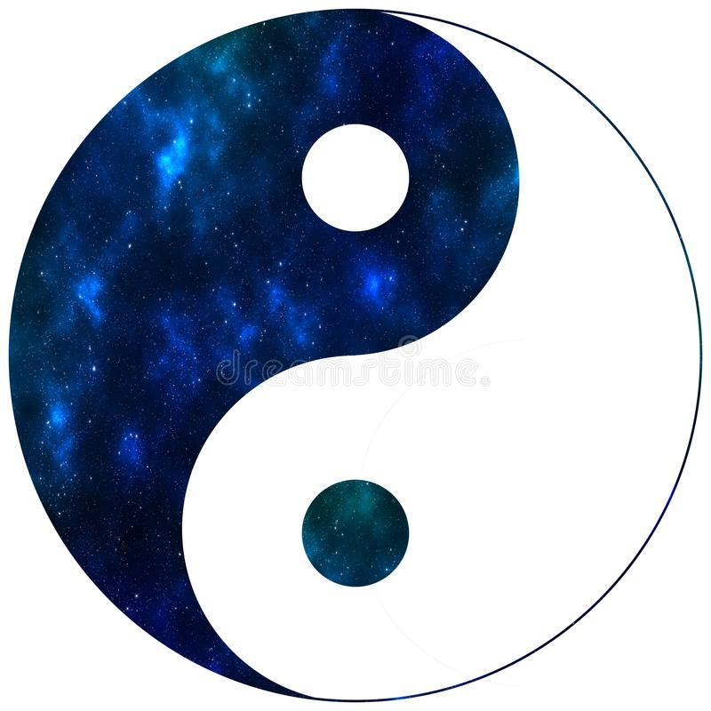 Μπλε διάστημα συμβόλων Ying yang διανυσματική απεικόνιση