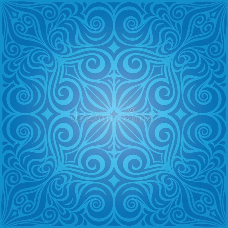 Μπλε διακοσμητικά λουλούδια, εκλεκτής ποιότητας ταπετσαριών σχέδιο mandala υποβάθρου περίκομψο απεικόνιση αποθεμάτων