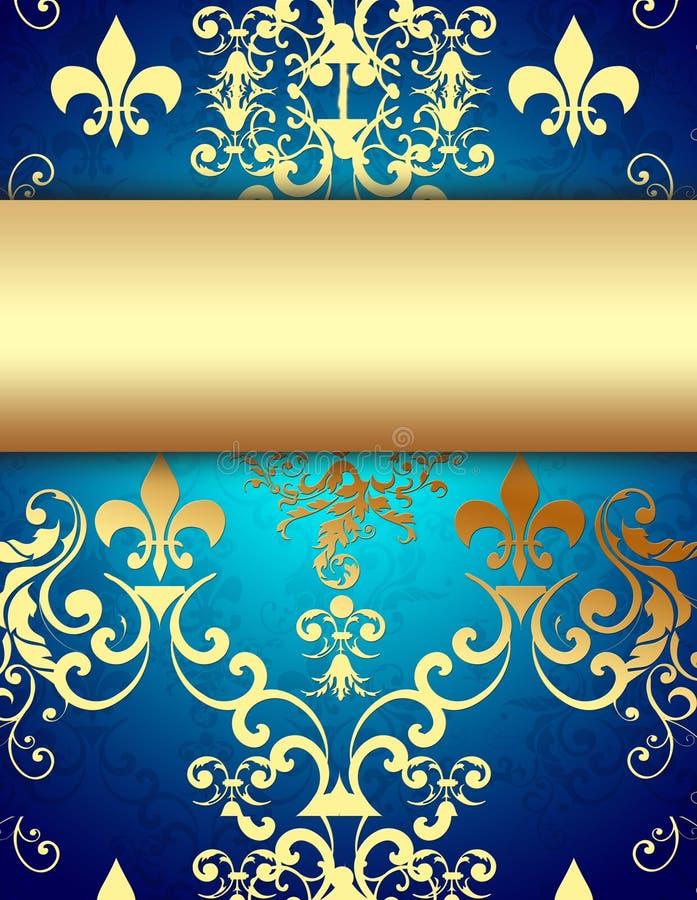 μπλε διακοσμητικό χρυσό π διανυσματική απεικόνιση