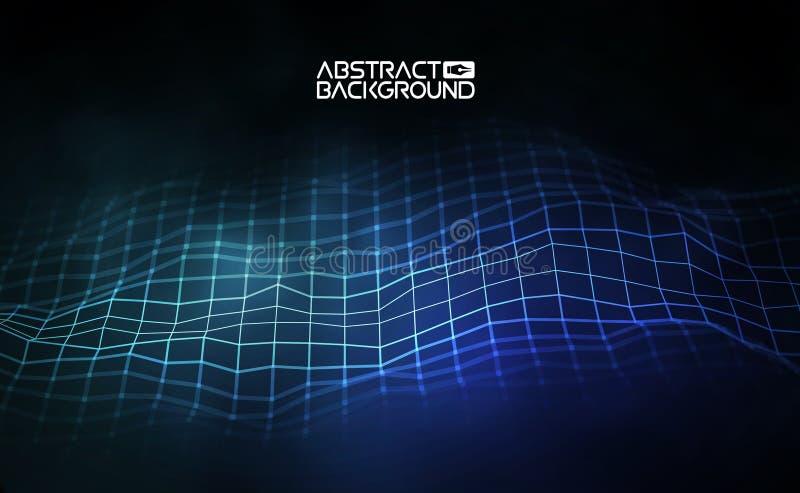 Μπλε διανυσματική απεικόνιση έννοιας σύνδεσης δικτύων Φουτουριστική hexagon ευρεία γωνία προοπτικής lanscape φουτουριστικός διανυσματική απεικόνιση