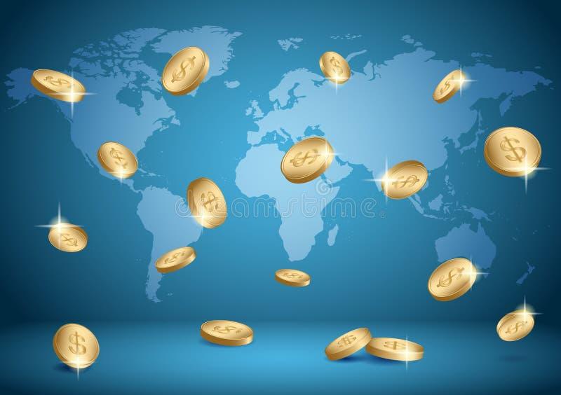 Μπλε διανυσματικό υπόβαθρο με τον παγκόσμιους χάρτη και τα νομίσματα - δολάρια απεικόνιση αποθεμάτων