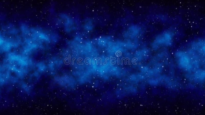 Μπλε διαστημικό υπόβαθρο ουρανού νύχτας έναστρο με τα φωτεινά αστέρια, νεφέλωμα στοκ εικόνα