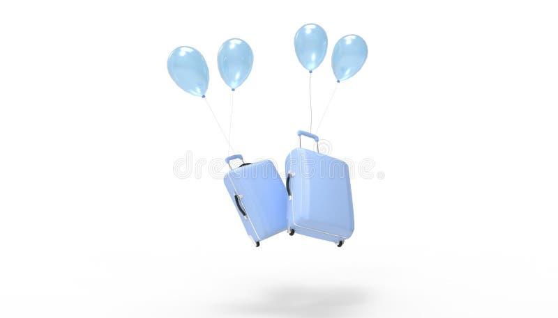 Μπλε διπλάσιο κολλών αεροπλάνων τσαντών αποσκευών και καλοκαιρινές διακοπές μπαλονιών που απομονώνονται στο άσπρο υπόβαθρο διανυσματική απεικόνιση