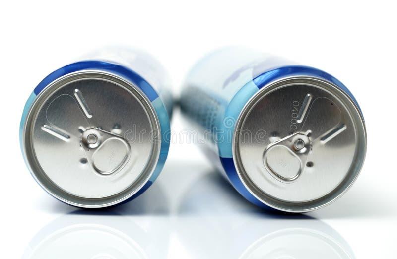 Μπλε δοχεία αργιλίου με το κενό στοκ εικόνες με δικαίωμα ελεύθερης χρήσης