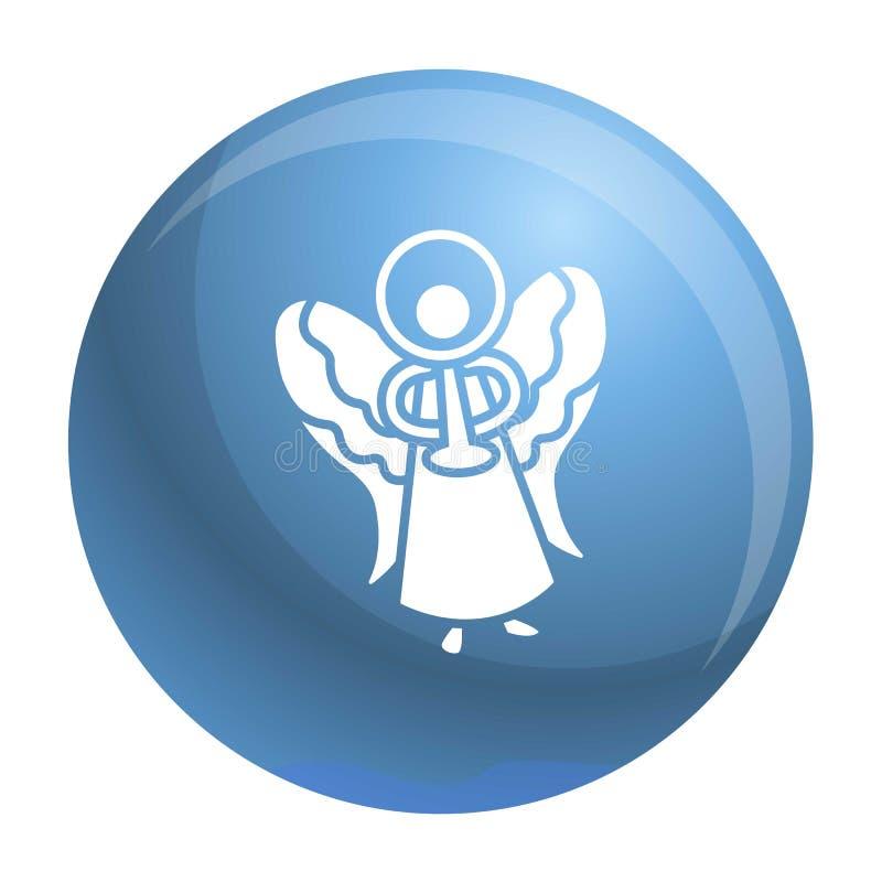 Μπλε εικονίδιο αγγέλου Χριστουγέννων, απλό ύφος απεικόνιση αποθεμάτων