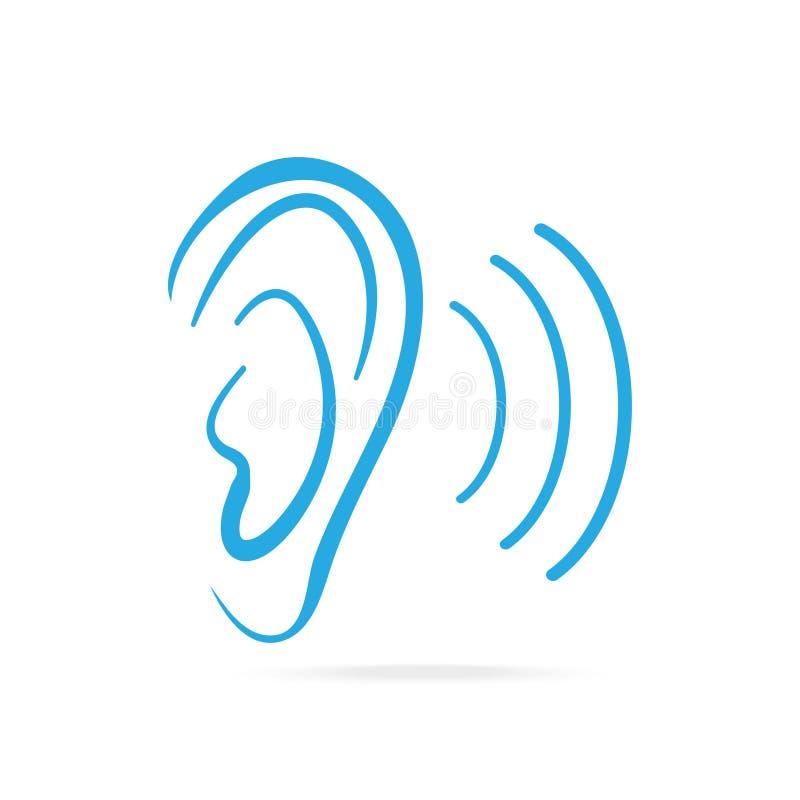 Μπλε εικονίδιο αυτιών, ακρόαση και εικονίδιο αυτιών απεικόνιση αποθεμάτων