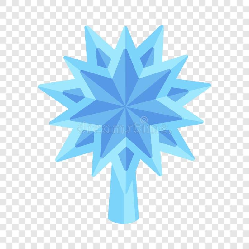 Μπλε εικονίδιο δέντρων έλατου αστεριών, επίπεδο ύφος απεικόνιση αποθεμάτων