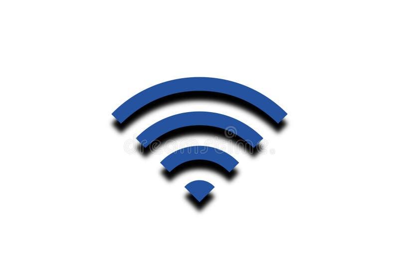 Μπλε εικονίδιο δύναμης σημάτων WiFi που απομονώνεται στο άσπρο υπόβαθρο ελεύθερη απεικόνιση δικαιώματος