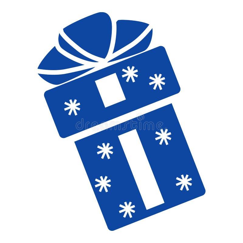 Μπλε εικονίδιο δώρων Χριστουγέννων, απλό ύφος ελεύθερη απεικόνιση δικαιώματος