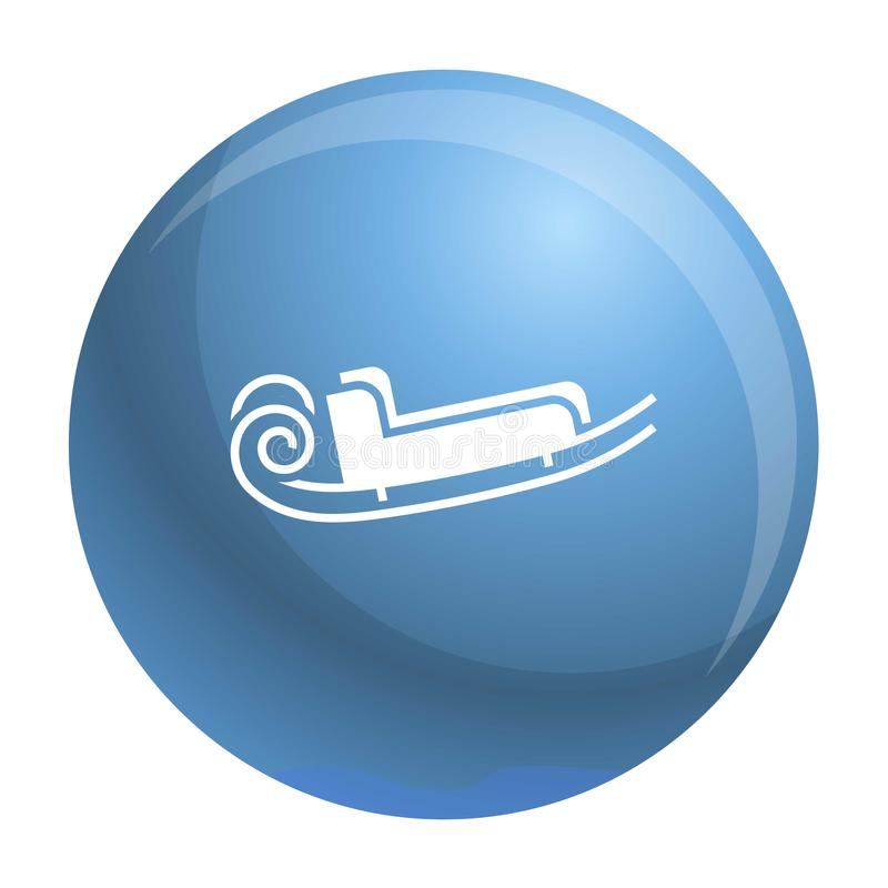 Μπλε εικονίδιο ελκήθρων santa, απλό ύφος διανυσματική απεικόνιση