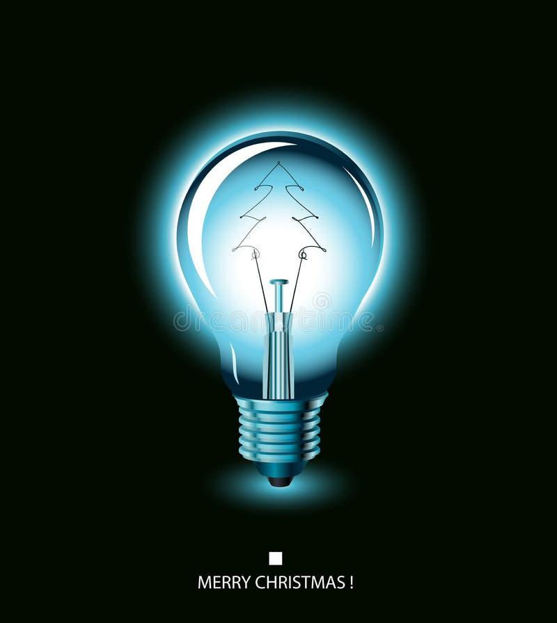 μπλε ελαφρύ δέντρο Χριστουγέννων βολβών ελεύθερη απεικόνιση δικαιώματος