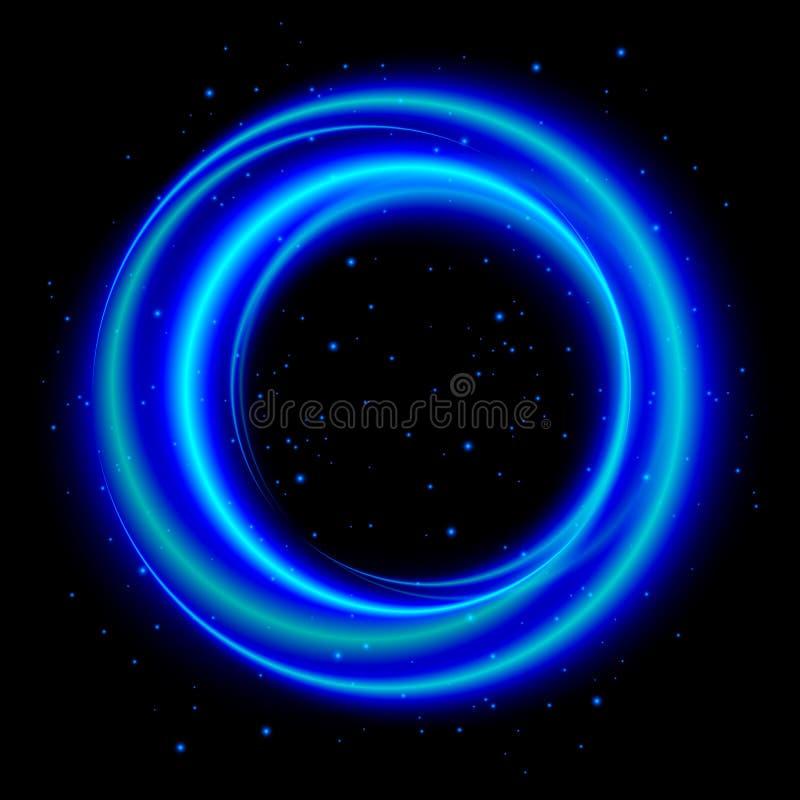 Μπλε ελαφρύ λάμποντας έμβλημα κύκλων απεικόνιση αποθεμάτων