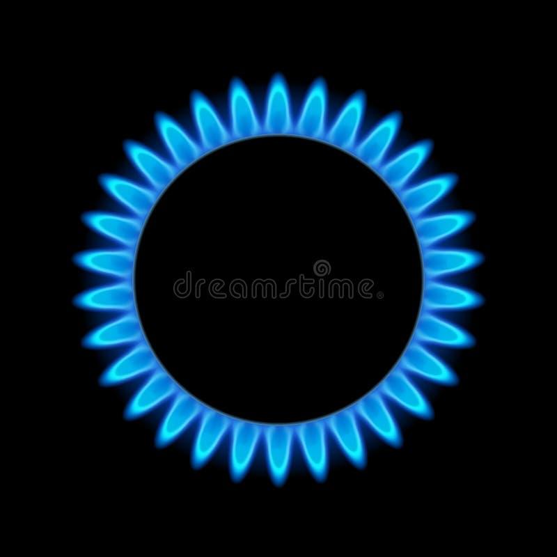 Μπλε ενέργεια φλογών αερίου Καυστήρας σομπών αερίου για το μαγείρεμα Φυσική δύναμη βουτανίου ή προπανίου θερμότητας πυρκαγιάς διανυσματική απεικόνιση