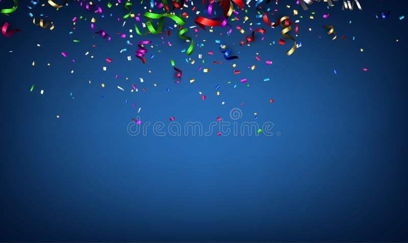 Μπλε εορταστικό υπόβαθρο με ζωηρόχρωμο serpentine ελεύθερη απεικόνιση δικαιώματος