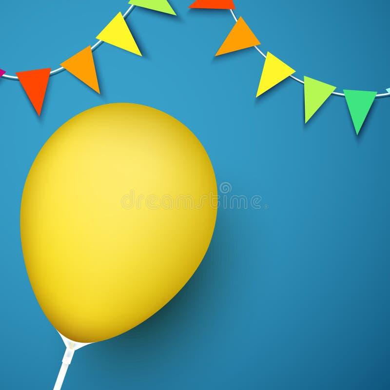 Μπλε εορταστικό υπόβαθρο με το κίτρινες μπαλόνι και τις σημαίες διανυσματική απεικόνιση