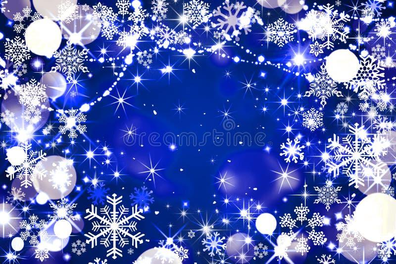 Μπλε εορταστικό χειμερινό υπόβαθρο, άσπροι κύκλοι, φωτεινοί, snowflake ελεύθερη απεικόνιση δικαιώματος