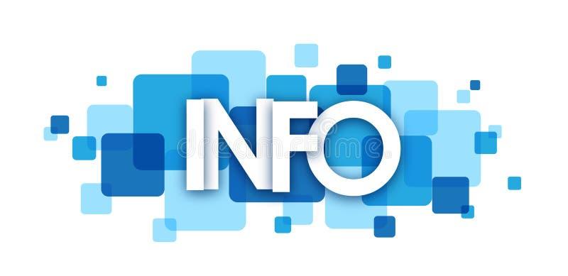 Μπλε επικαλύπτοντας έμβλημα τετραγώνων ΠΛΗΡΟΦΟΡΙΩΝ απεικόνιση αποθεμάτων