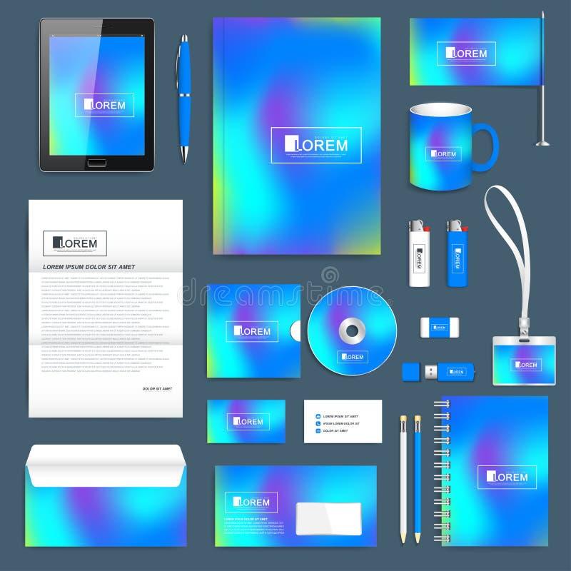 Μπλε επιχειρησιακό σύνολο διανυσματικού εταιρικού προτύπου ταυτότητας Σύγχρονο πρότυπο χαρτικών Αφηρημένο ρευστό τρισδιάστατο διά ελεύθερη απεικόνιση δικαιώματος