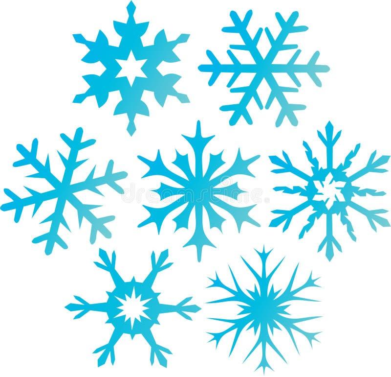 μπλε επτά snowflakes ελεύθερη απεικόνιση δικαιώματος