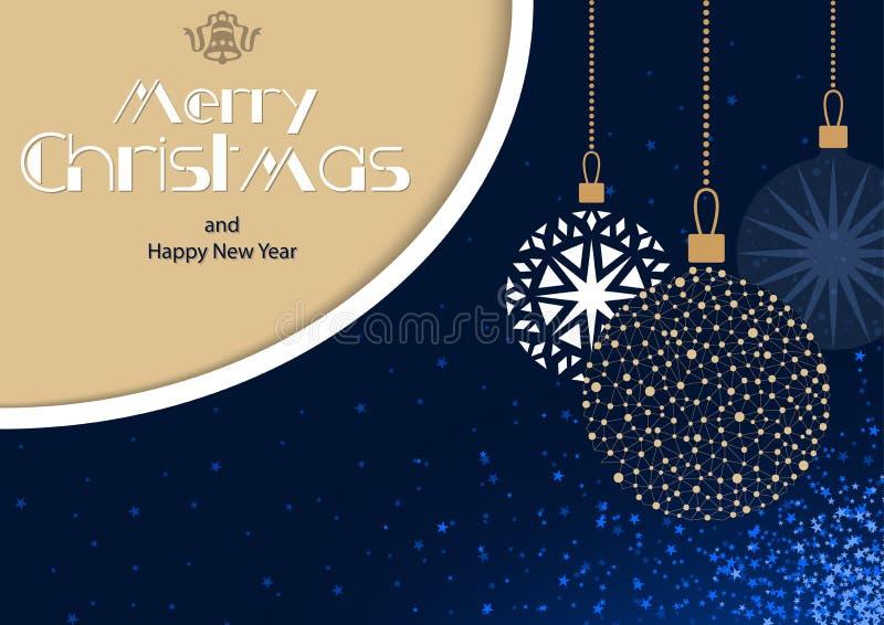 Μπλε ευχετήρια κάρτα Χαρούμενα Χριστούγεννας με την ένωση των μπιχλιμπιδιών ελεύθερη απεικόνιση δικαιώματος