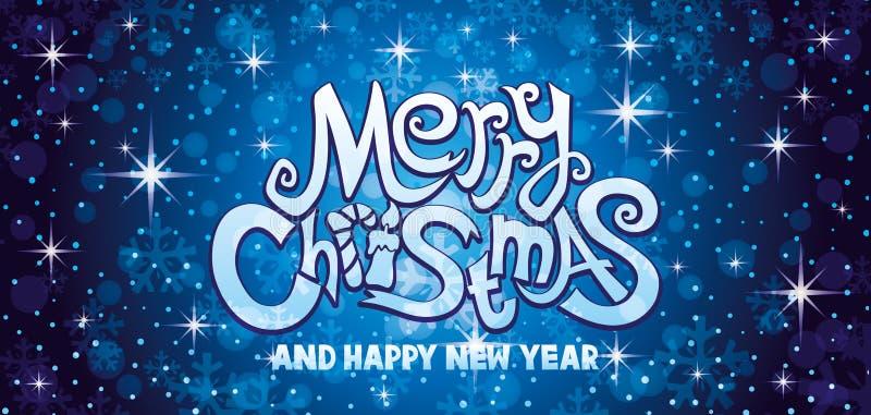 Μπλε ευχετήρια κάρτα Χαρούμενα Χριστούγεννας διανυσματική απεικόνιση