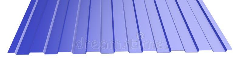 Μπλε ζαρωμένος μέταλλο σωρός φύλλων στεγών - μπροστινή άποψη ελεύθερη απεικόνιση δικαιώματος