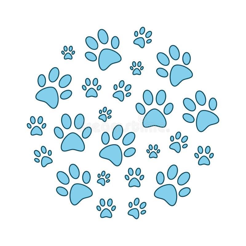 Μπλε ζωικές τυπωμένες ύλες ποδιών γύρω από την αστεία διανυσματική απεικόνιση απεικόνιση αποθεμάτων