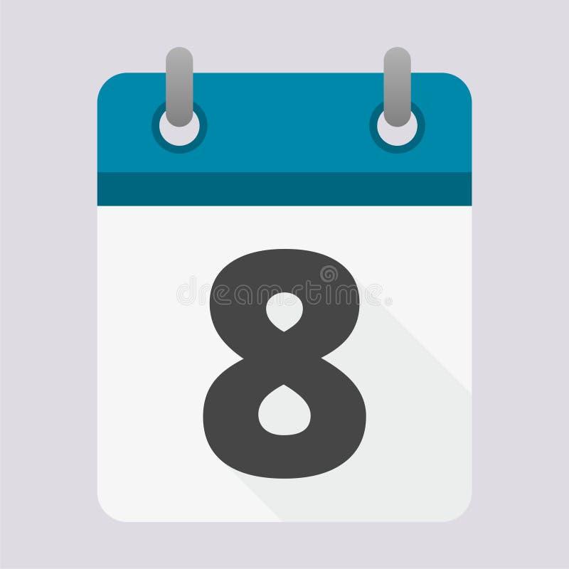 Μπλε ημερολογιακό εικονίδιο με τη μακριά σκιά - αριθμός 8 διανυσματική απεικόνιση