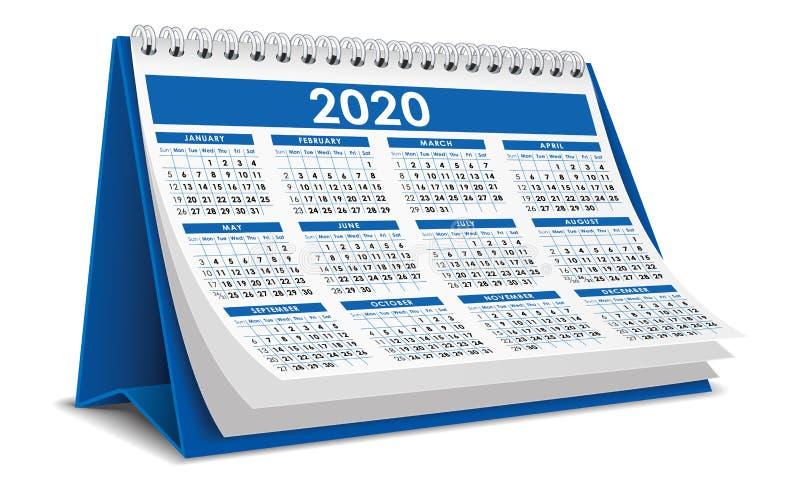 Μπλε ημερολόγιο 2020 διανυσματική απεικόνιση