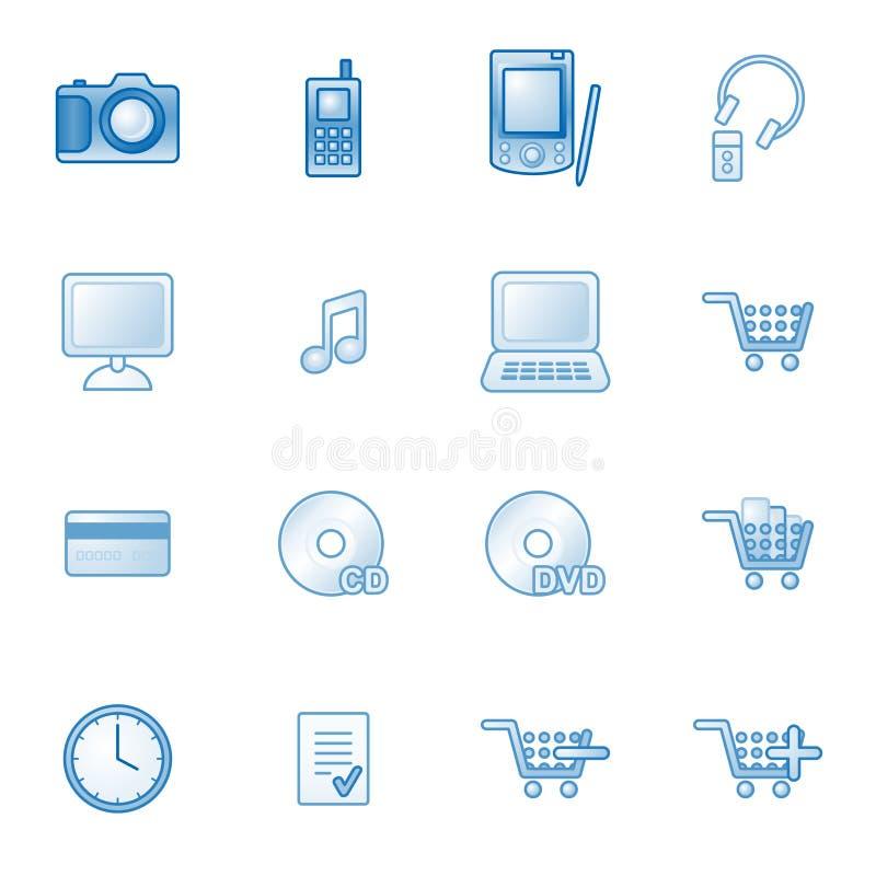 μπλε Ιστός καταστημάτων σειράς εικονιδίων ε διανυσματική απεικόνιση