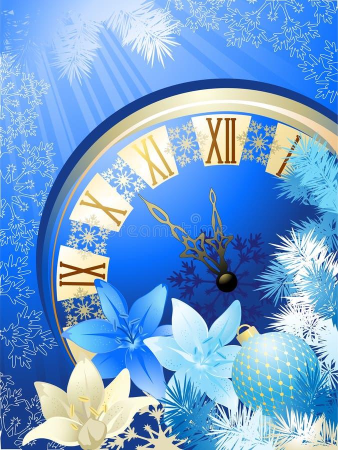 μπλε κάρτα καλή χρονιά διανυσματική απεικόνιση