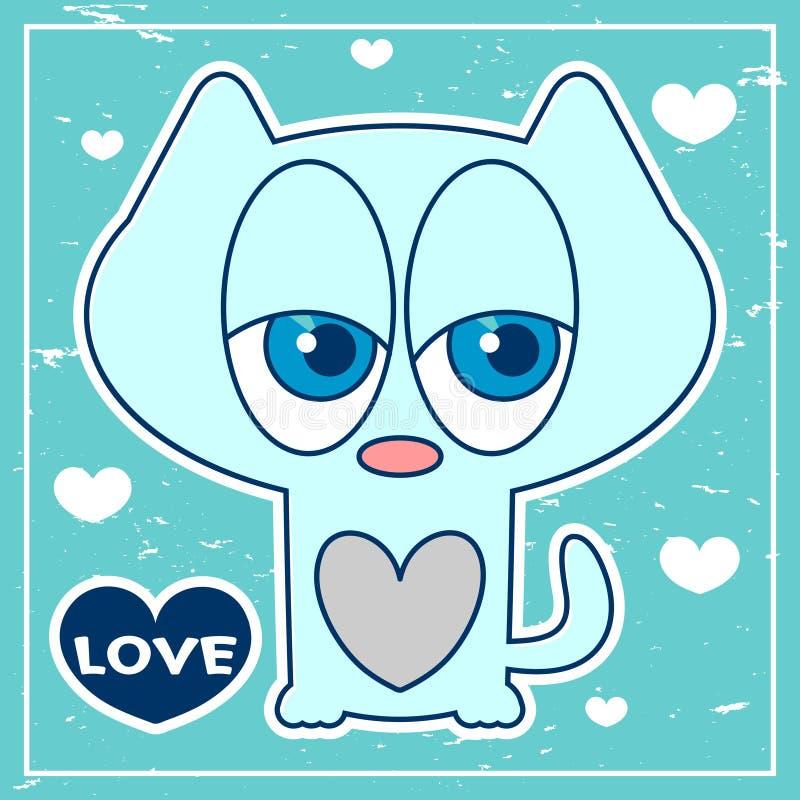 Μπλε κάρτα με το χαριτωμένο γατάκι ελεύθερη απεικόνιση δικαιώματος
