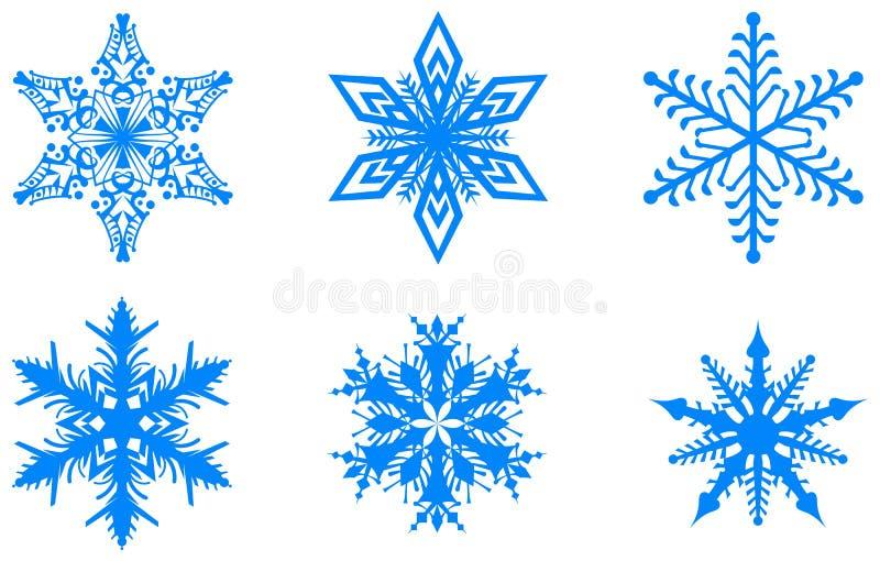 Μπλε καθορισμένα snowflakes χειμερινών Χριστουγέννων που απομονώνονται στο άσπρο υπόβαθρο ελεύθερη απεικόνιση δικαιώματος