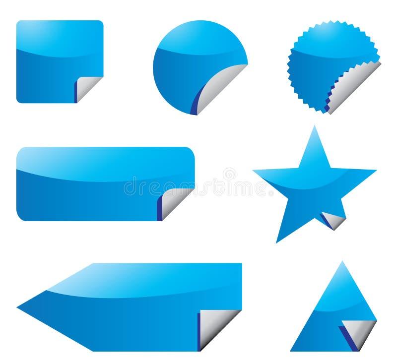 μπλε καθορισμένες αυτοκόλλητες ετικέττες διανυσματική απεικόνιση