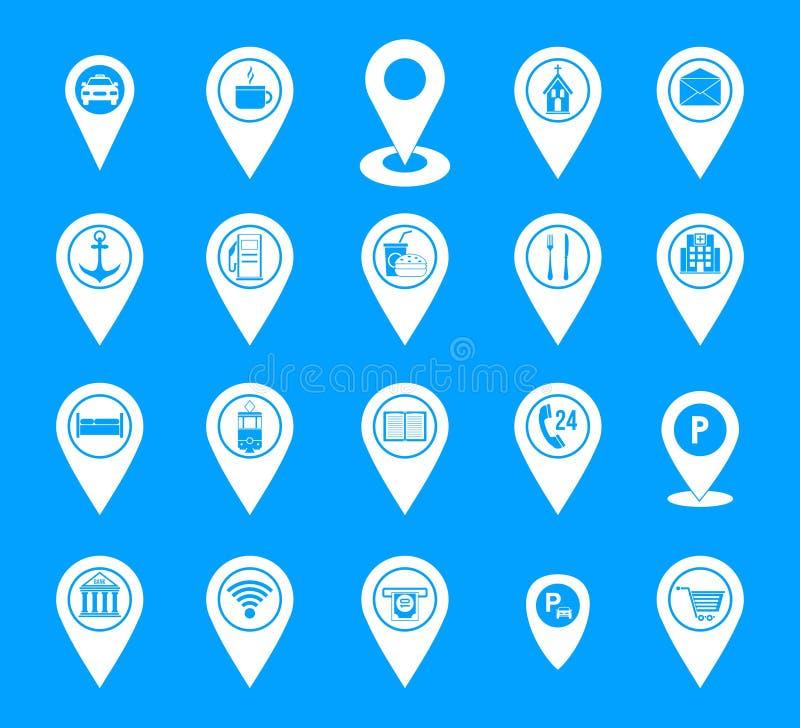 Μπλε καθορισμένο διάνυσμα εικονιδίων καρφιτσών χαρτών απεικόνιση αποθεμάτων