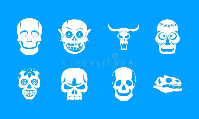 Μπλε καθορισμένο διάνυσμα εικονιδίων κρανίων ελεύθερη απεικόνιση δικαιώματος