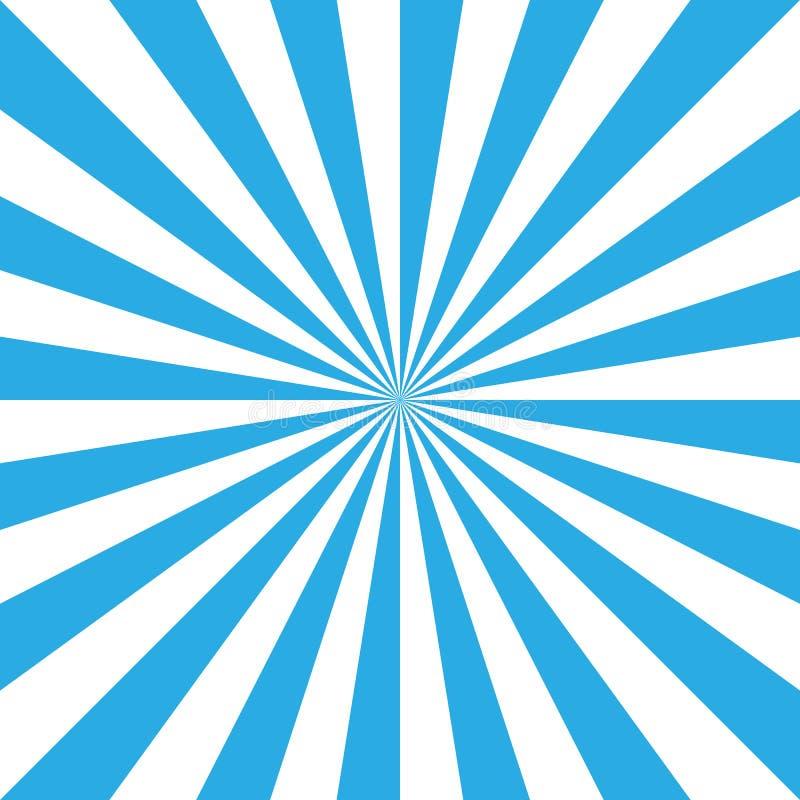 Μπλε και άσπρο αναδρομικό υπόβαθρο ηλιοφάνειας Ήλιος και ακτίνες r απεικόνιση αποθεμάτων
