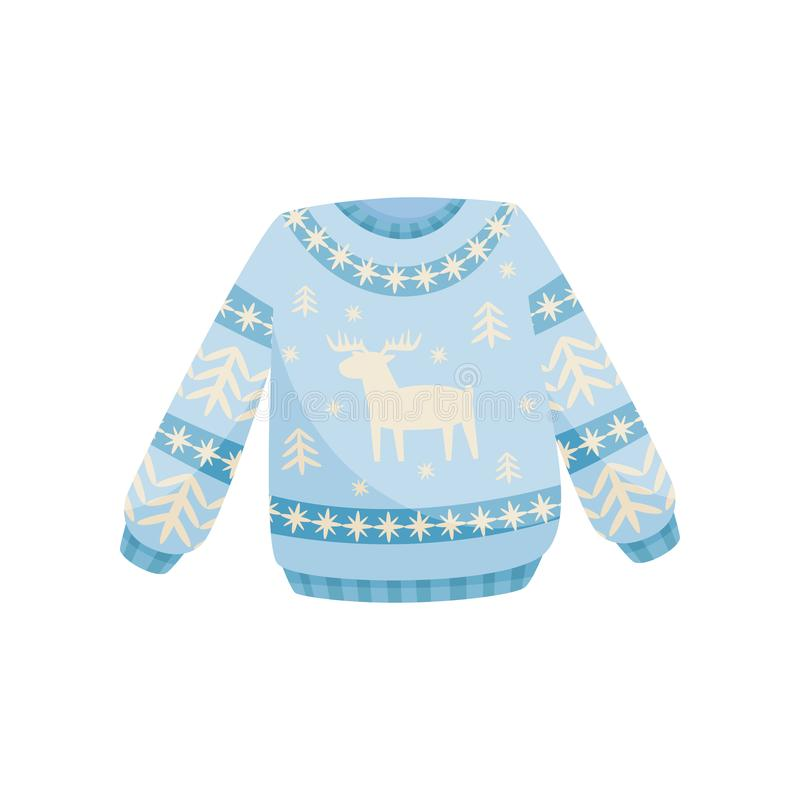 Μπλε και άσπρο πουλόβερ Χριστουγέννων, πλεκτός θερμός άλτης με τη διανυσματική απεικόνιση ταράνδων σε ένα άσπρο υπόβαθρο διανυσματική απεικόνιση