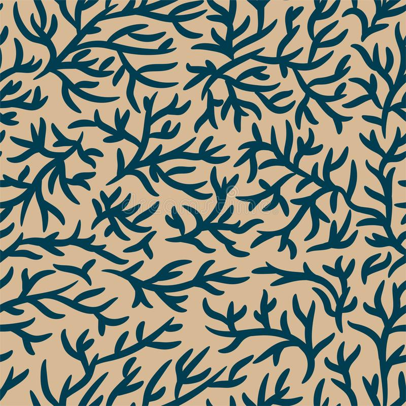 Μπλε και ανοικτό καφέ σχέδιο κλάδων Ραγισμένη επίδραση r Για το ύφασμα, κλωστοϋφαντουργικό προϊόν, σχέδιο, έμβλημα διαφήμισης διανυσματική απεικόνιση