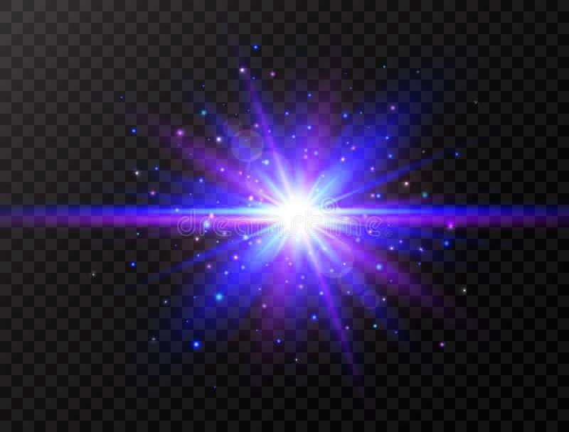 Μπλε και ιώδης επίδραση πυράκτωσης Αστέρι που εκρήγνυται με τις ακτίνες και τα σπινθηρίσματα Φουτουριστικό φως στο διαφανές υπόβα απεικόνιση αποθεμάτων