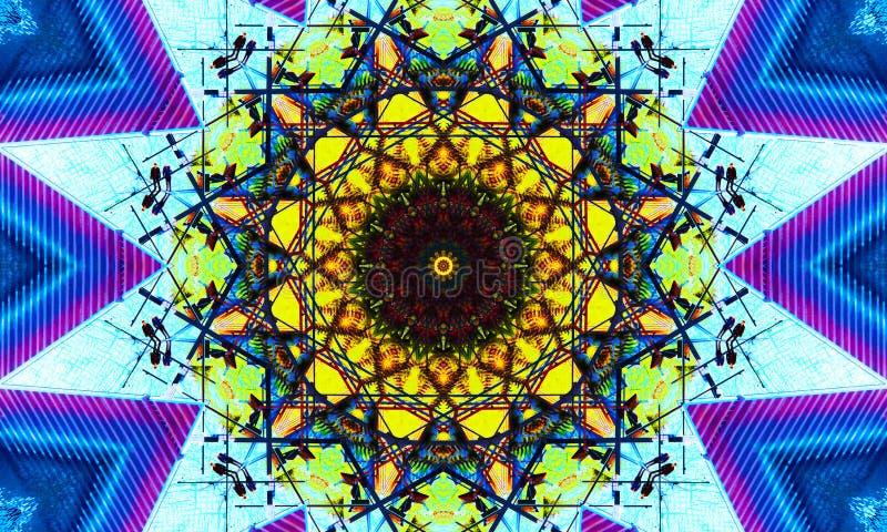 Μπλε και κίτρινη τέχνη mandala ελεύθερη απεικόνιση δικαιώματος