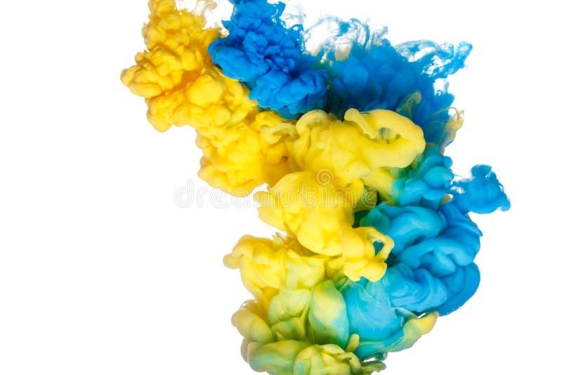 Μπλε και κίτρινος παφλασμός χρωμάτων που απομονώνεται στο άσπρο υπόβαθρο στοκ φωτογραφίες