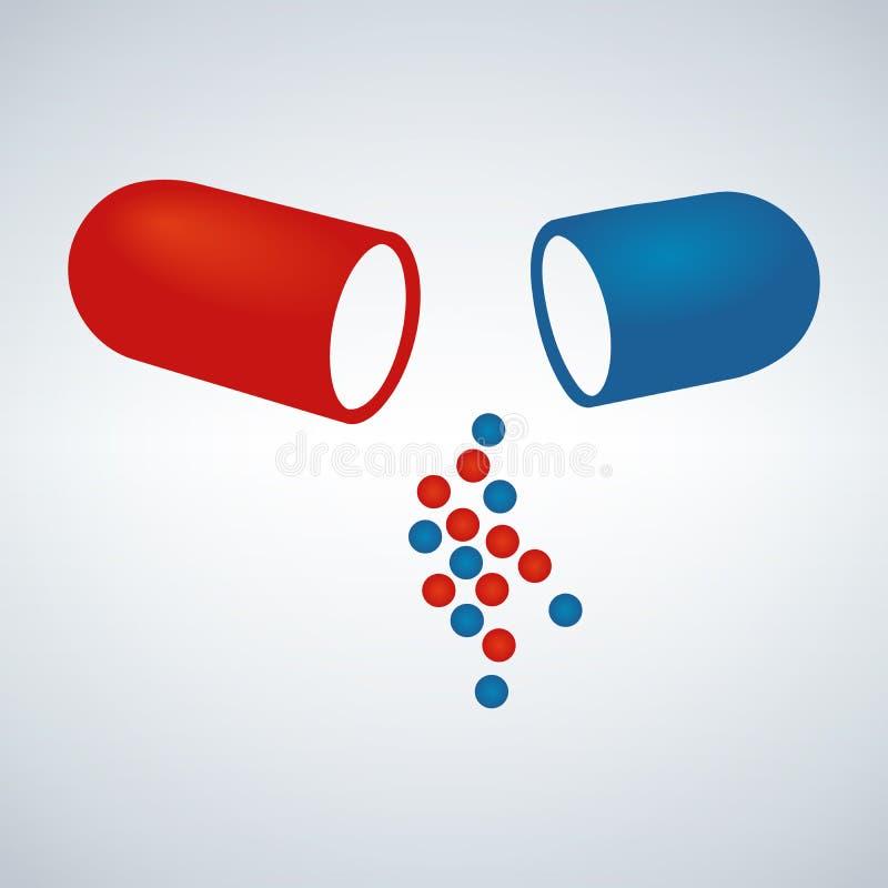 Μπλε και κόκκινη κάψα, παυσίπονα, αντιβιοτικά, βιταμίνες, αμινοξέα, μεταλλεύματα, βιο ενεργός πρόσθετη ουσία, αθλητική διατροφή Ε διανυσματική απεικόνιση