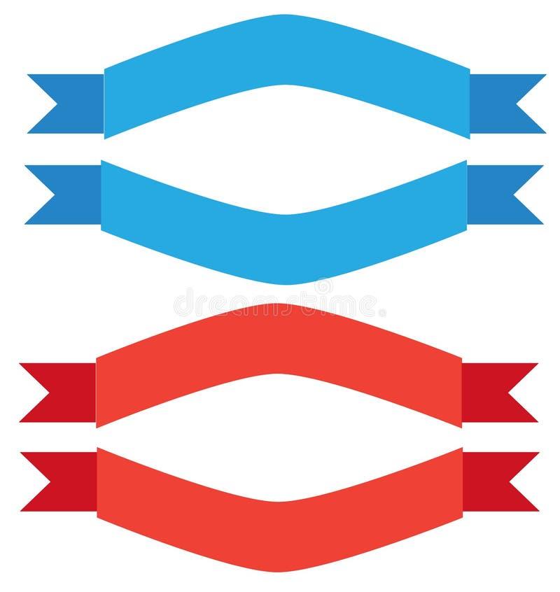 Μπλε και κόκκινο έμβλημα κορδελλών στο άσπρο υπόβαθρο απεικόνιση αποθεμάτων